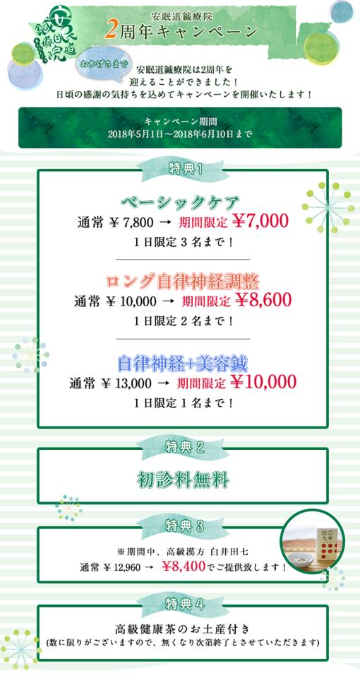 吉祥寺鍼灸院2周年キャンペーン